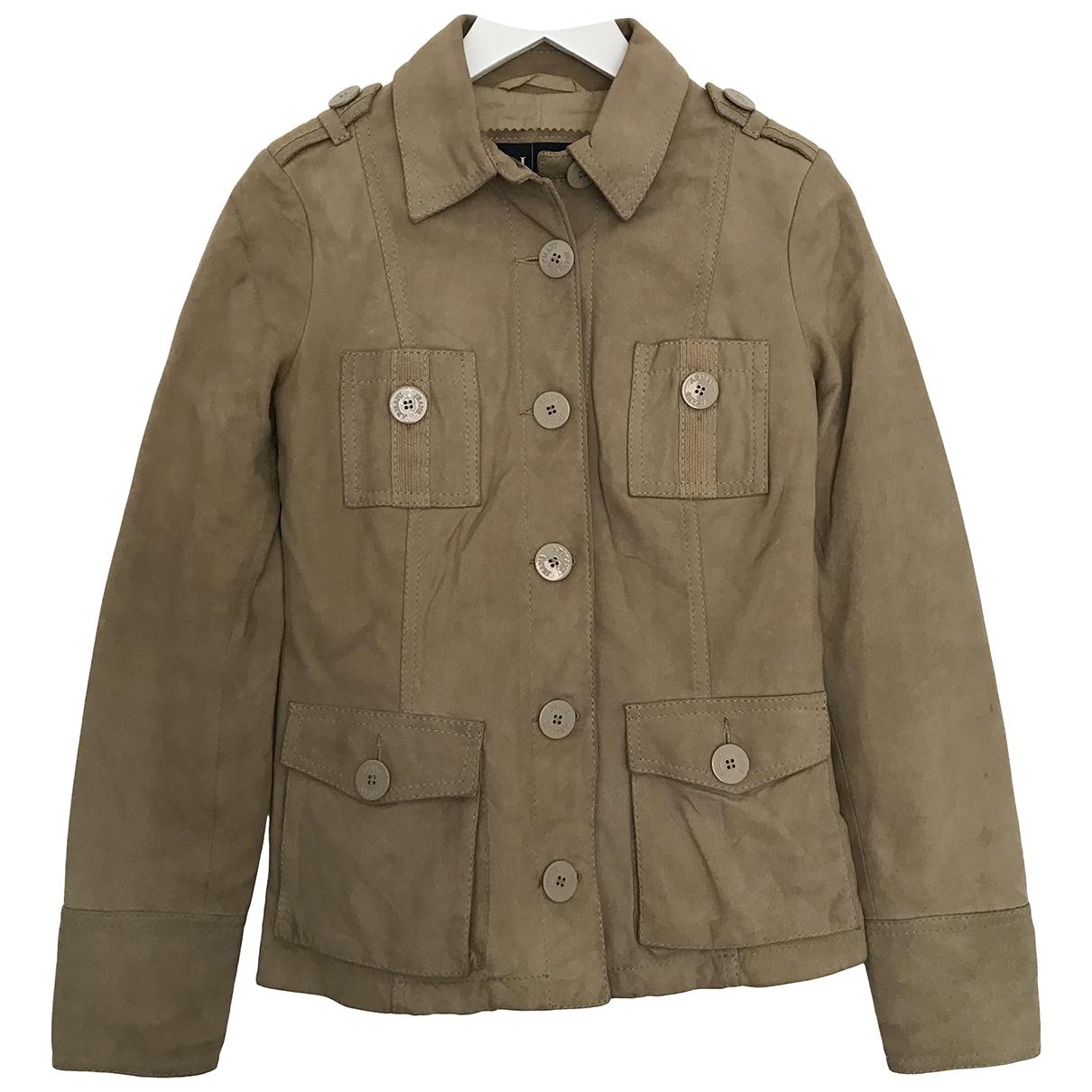 Armani Jeans \N Beige Leather jacket for Women 38 IT