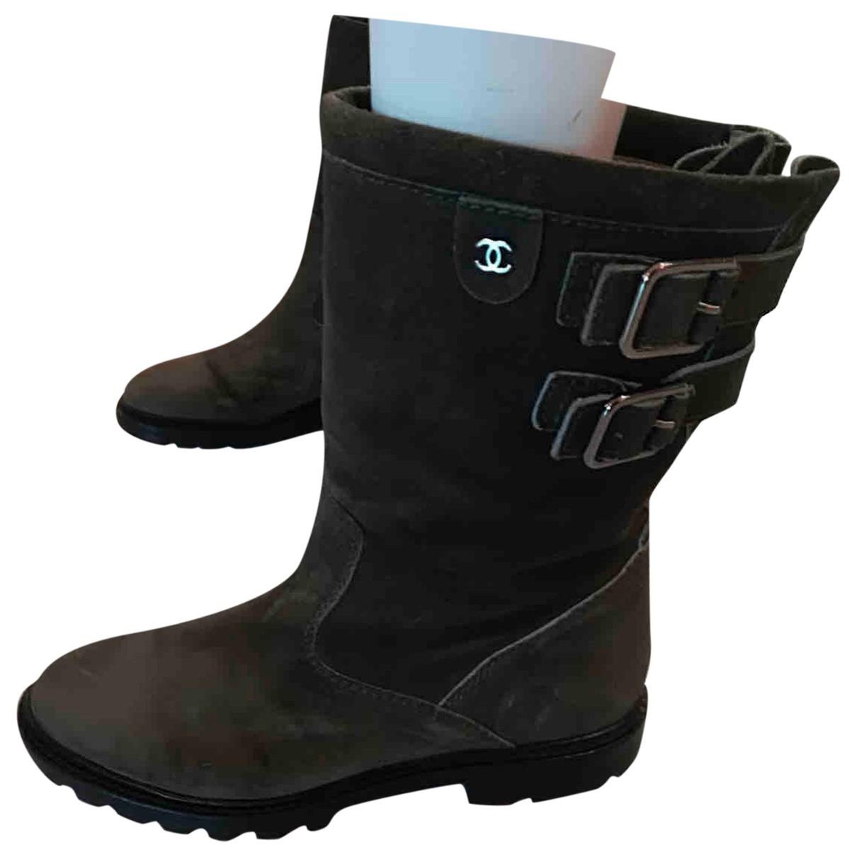 Chanel \N Khaki Suede Boots for Women 40 EU