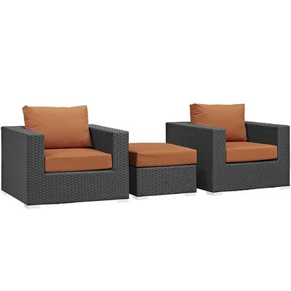 Sojourn Collection EEI-1891-CHC-TUS-SET 3 PC Outdoor Patio Sectional Set with Sunbrella Fabric  Powder Coated Aluminum Frame  Synthetic Rattan Weave