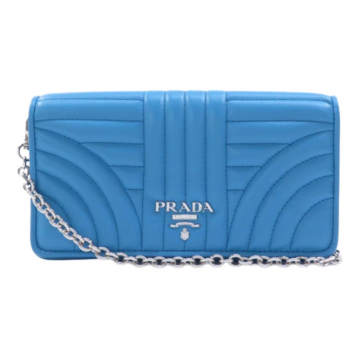 Prada Diagramme Blue Leather Clutch bag for Women N
