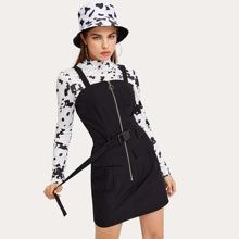 Solid Zip Up Buckle Pinafore Dress