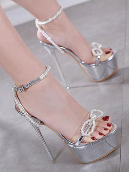 Milanoo Silver Sexy Sandals Women Platform Open Toe Pearls Ankle Strap High Heel Sandals