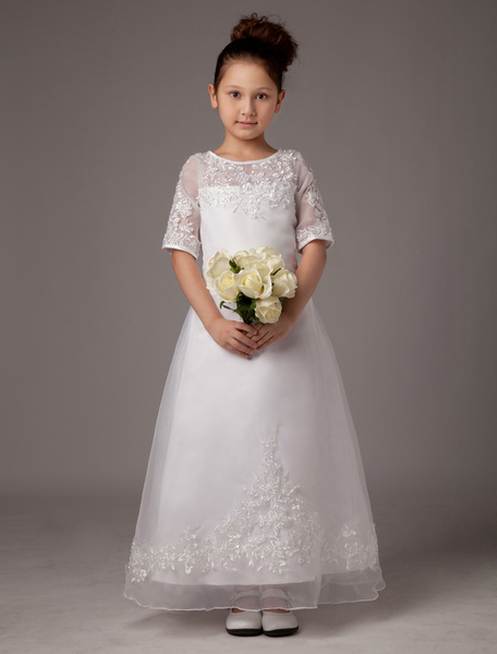 Milanoo A-line White Jewel Neck Applique Ankle-Length First Communion Dress