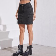 Dark Wash Flap Pocket Detail Denim Skirt Without Belt