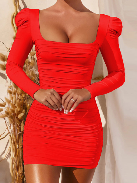 Milanoo Black Bodycon Dresses Sexy Square Neck Long Sleeve Ruched Short Dress For Women