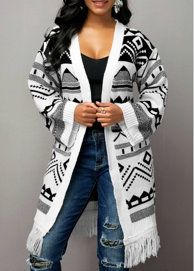 Women'S White Open Front Tassel Hem Tribal Pattern Cardigan Long Sleeve Tunic Casual Coat By Rosewe - L