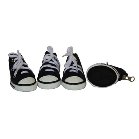 The Pet Life Extreme-Skater Canvas Casual Grip PetSneaker Shoes - Set Of 4, One Size , Black