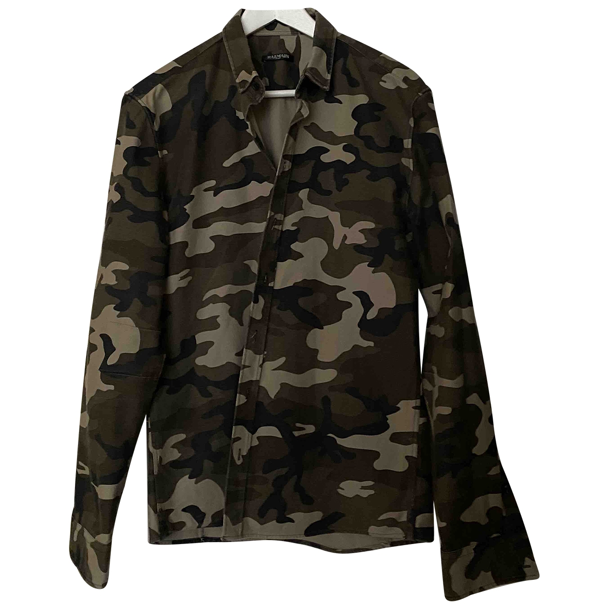 Balmain \N Khaki Cotton Shirts for Men 40 EU (tour de cou / collar)