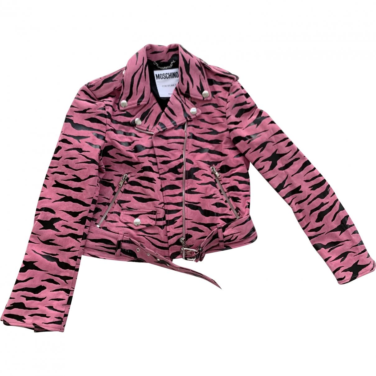 Moschino - Veste   pour femme en cuir - rose