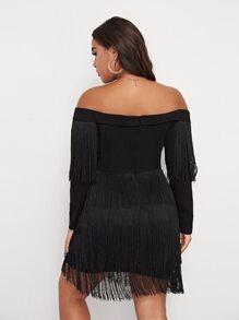 Plus Off Shoulder Surplice Neck Layered Fringe Hem Dress