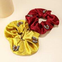 2pcs Rhinestone Butterfly Decor Scrunchie