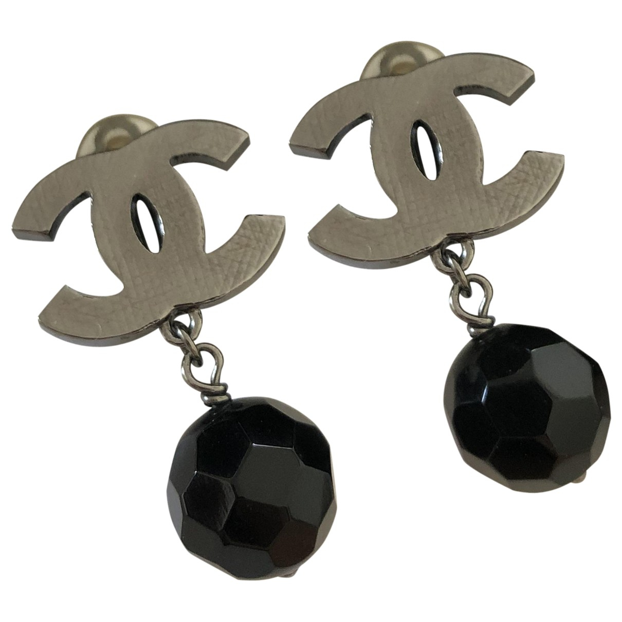 Chanel CC OhrRing in  Schwarz Metall