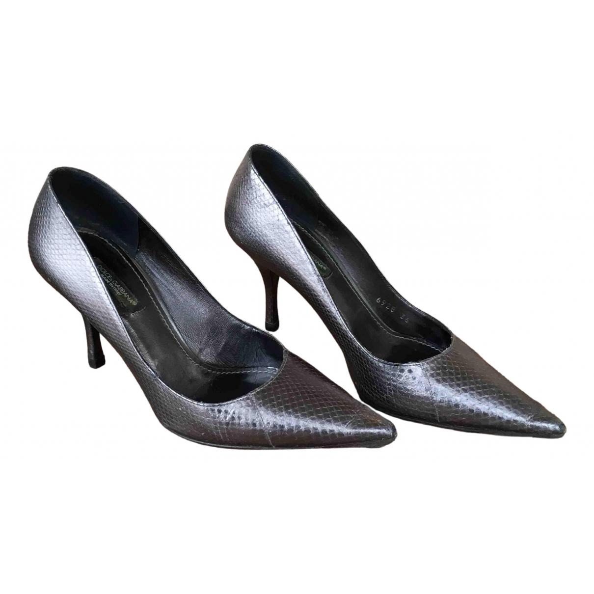 Dolce & Gabbana N Silver Python Heels for Women 36 EU