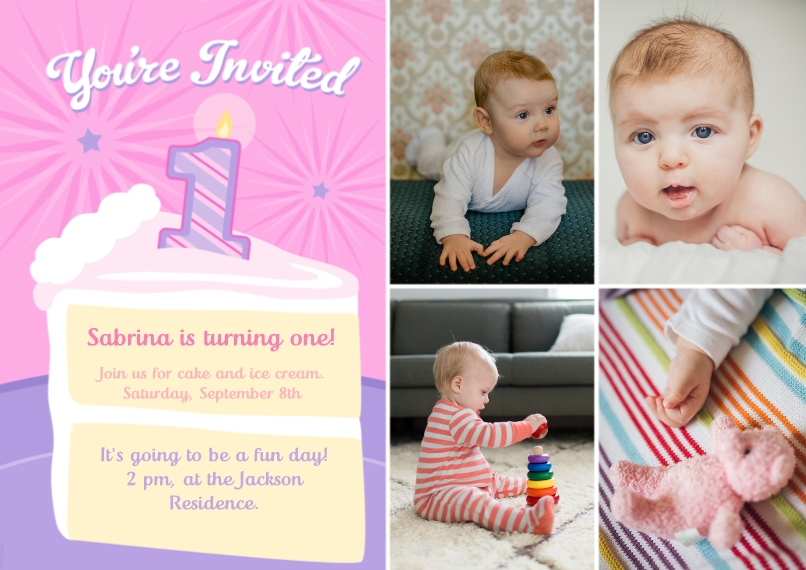 1st Birthday Invitations 5x7 Cards, Premium Cardstock 120lb with Scalloped Corners, Card & Stationery -Youre Invited