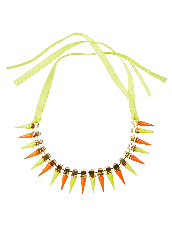 Kostuemzubehor Halskette mit Stacheln neongelb