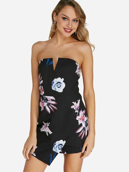 Yoins Black Backless Random Floral Print Off The Shoulder Sleeveless Playsuits