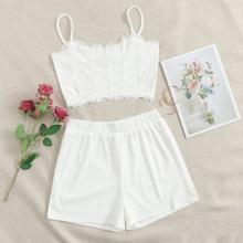 Lace Trim Rib-knit Cami Top & Shorts Set