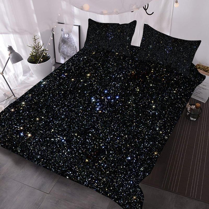 3D Dark Galaxy Mysterious 3Pcs Lightweight Warm Comforter Set with 2 Pillow Shams Three-Piece Set Skin-friendly Endurable Colorfast