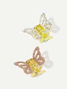 Girls Rhinestone Butterfly Claw 2pcs