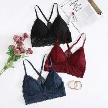 3pack Floral Lace Triangle Bra Set
