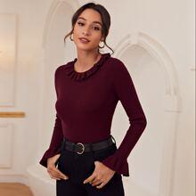 Rippenstrick Pullover mit Schosschenaermeln