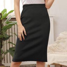 Kate Kasin High Waist Rib-knit Skirt
