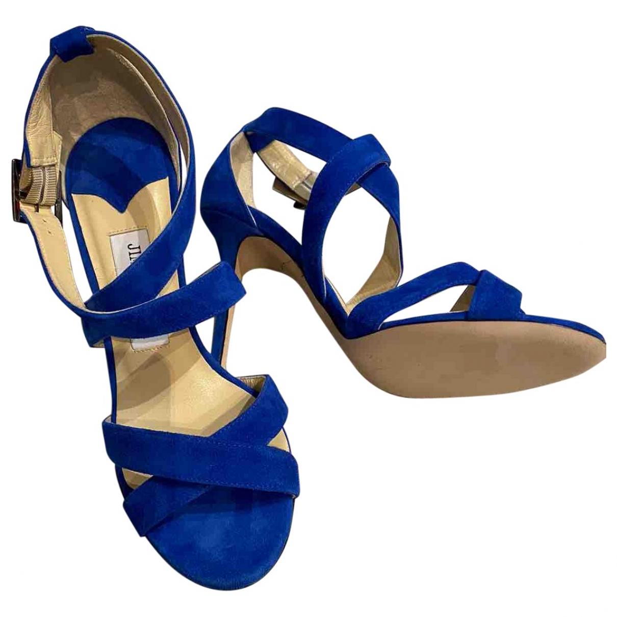 Jimmy Choo - Sandales   pour femme en suede - bleu