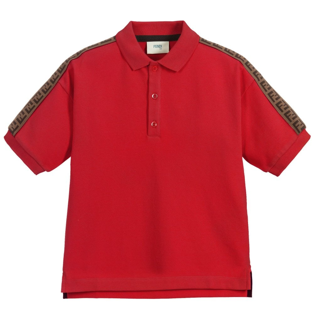Fendi Kids Taped Polo Colour: RED, Size: 12+ YEARS