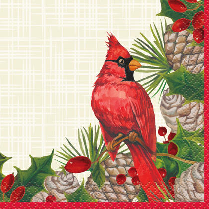Red Cardinal Christmas Beverage Napkins, 16ct