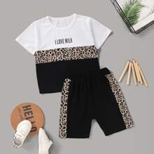 Toddler Boys Color-block Leopard Tee With Shorts