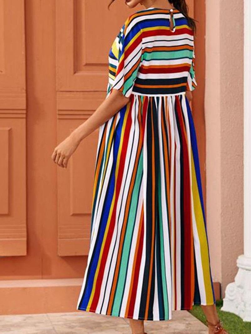 Ericdress Short Sleeve Round Neck Mid-Calf Stripe Regular Dress