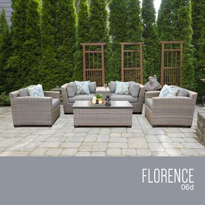 FLORENCE-06d-GREY Florence 6 Piece Outdoor Wicker Patio Furniture Set 06d with 2 Covers: Grey and