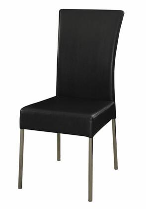 433495 Cameo Black Dining Chair with Sturdy Chrome Metal Frame and Slim Waterfall Faux Leather Profile in