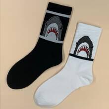 2 pares calcetines de hombres con patron de tiburon
