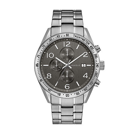 Caravelle Designed By Bulova Mens Silver Tone Stainless Steel Bracelet Watch-43b164, One Size , No Color Family