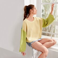 Drop Shoulder Colorblock Oversized Sweater