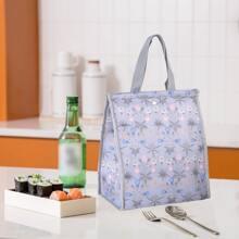 Flower Print Insulation Lunch Bag