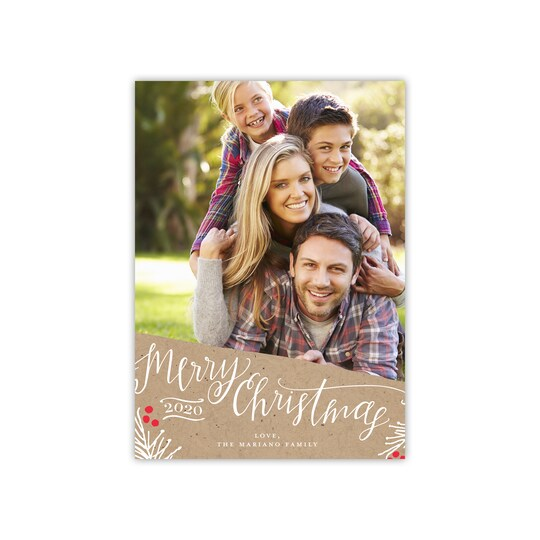 20 Pack of Gartner Studios® Personalized Christmas & New Year Photo Card in Light Brown | 5