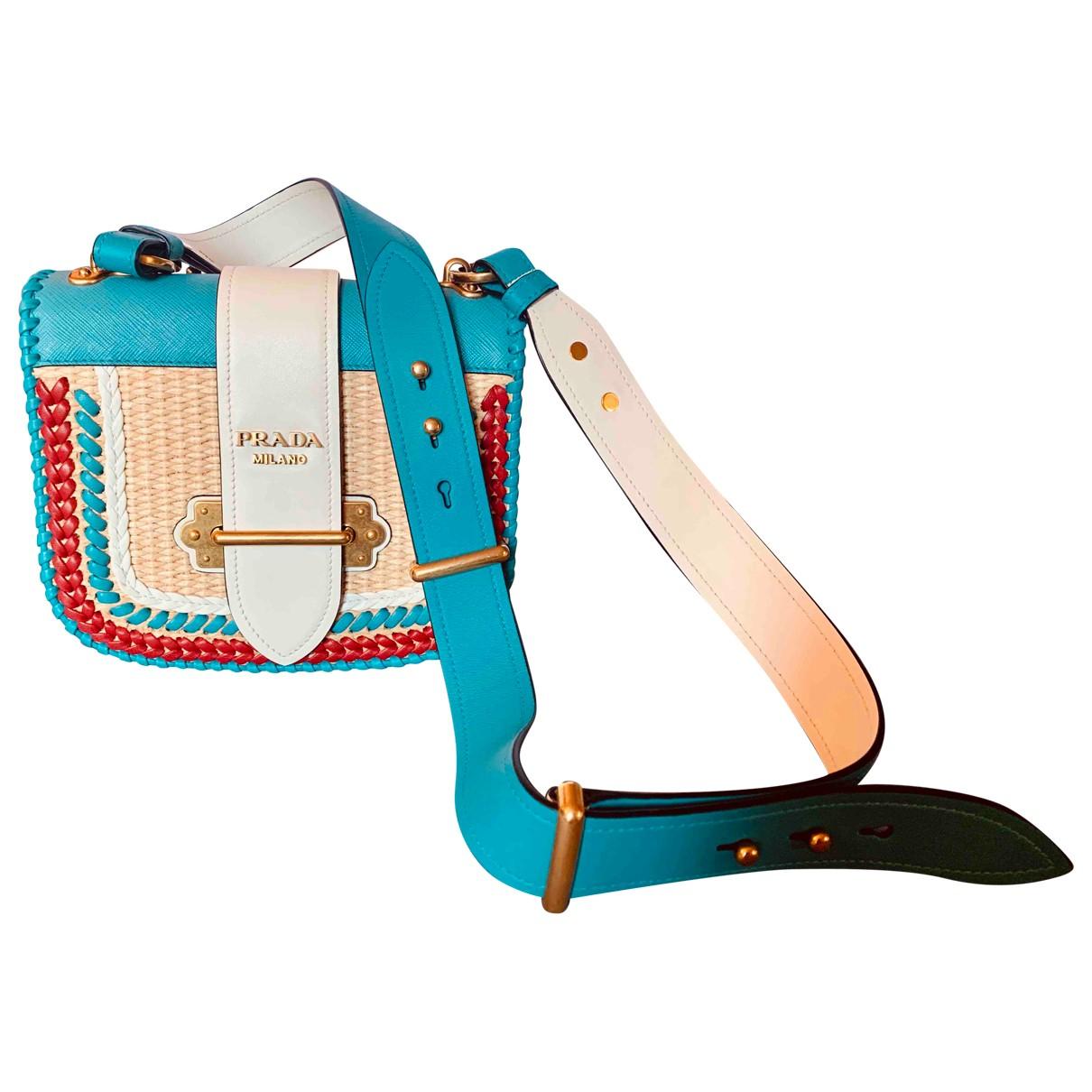 Prada - Sac a main Cahier pour femme en paille - bleu