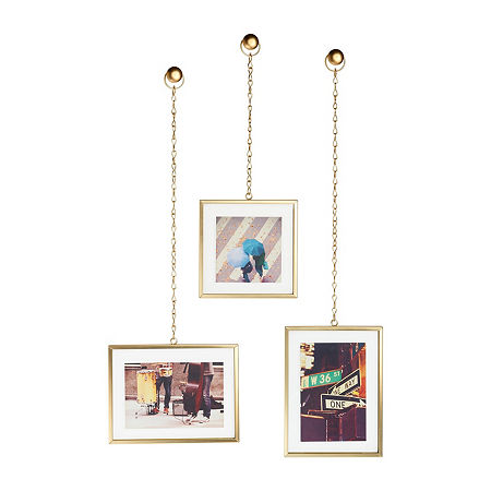 Umbra Fotochain Photo Display Matte Brass 3-Opening Wall Frame, One Size , Yellow