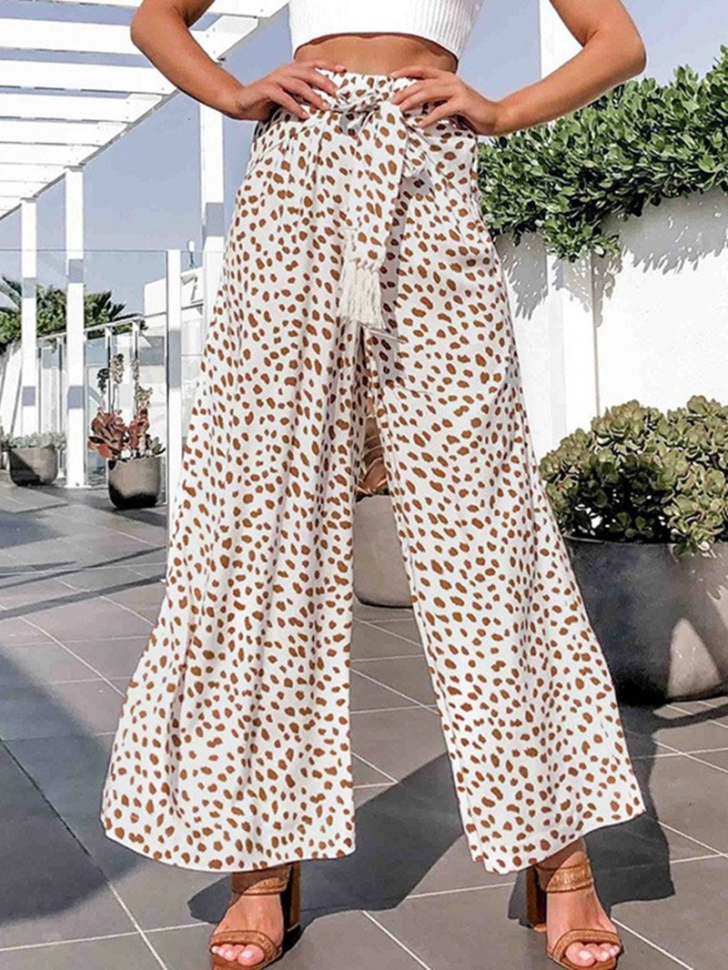 Ericdress Loose Lace-Up Leopard Wide Legs Full Length Casual Pants