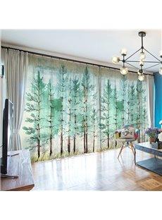 3D Cartoon Green Forest Scene Printed Decorative 2 Panels Custom Sheer