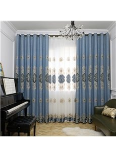 Modern Simple Style European Decorative Embroidered Blackout Grommet Curtain