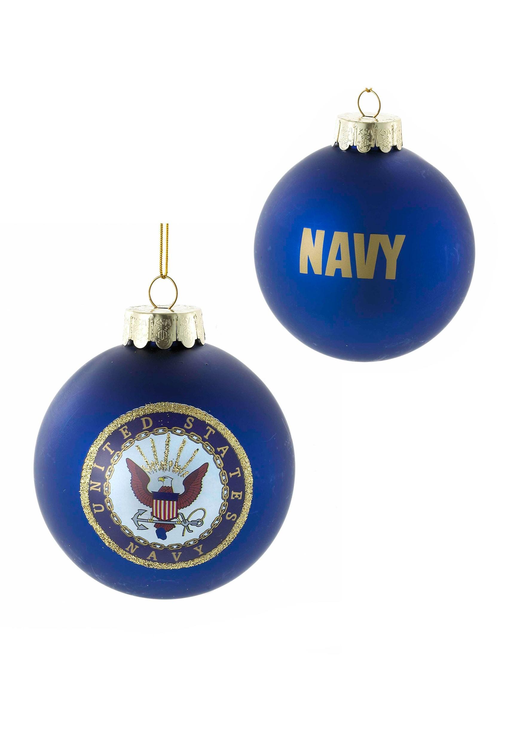Glass US Navy Ball Ornament