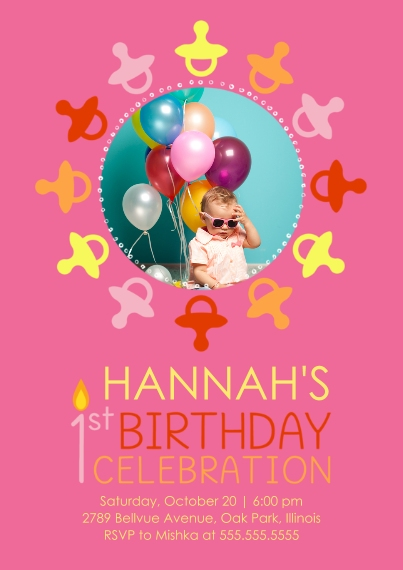 1st Birthday Invitations 5x7 Cards, Standard Cardstock 85lb, Card & Stationery -1st Birthday Pacifiers - Girl