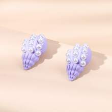 Faux Pearl Conch Stud Earrings