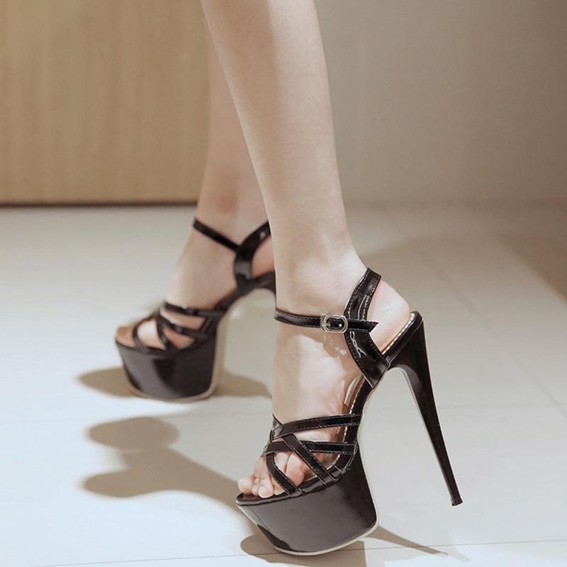 Ericdress Slip-On Stiletto Heel Open Toe Buckle Sandals