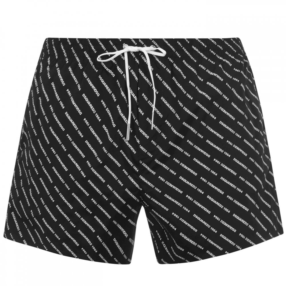 Dsquared2 All-Over Logo Swim Shorts Colour: BLACK, Size: EXTRA LARGE