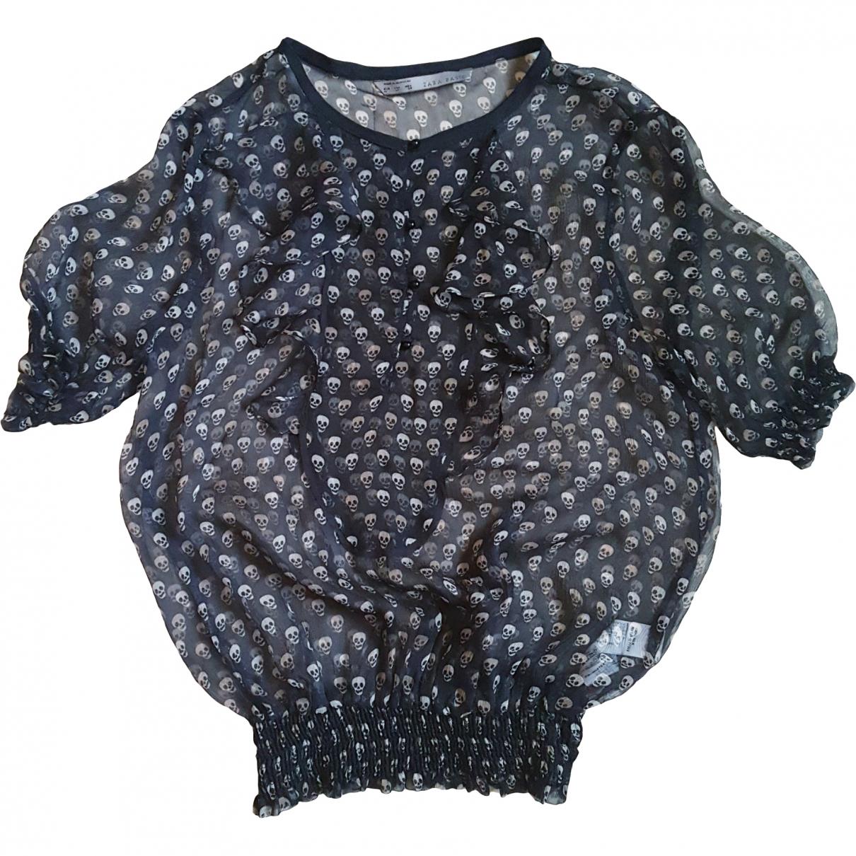 Zara - Top   pour femme en soie - noir
