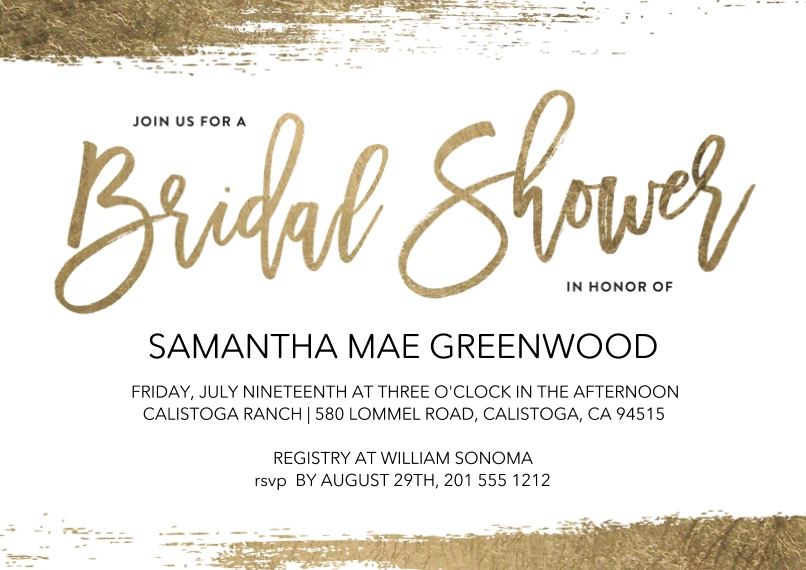 Wedding Shower Invitations Flat Matte Photo Paper Cards with Envelopes, 5x7, Card & Stationery -Bridal Shower Gold Brush by Tumbalina